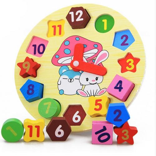 top popular Baby Kids Childrens Education Wooden Puzzle Toys Wooden Digital Clock Jigsaw Toy Geometry Stacking Toys Wholesale 2021
