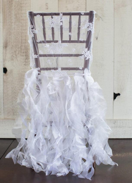 Custom Made 2017 White Lace Organza Ruffles Chair Covers Vintage Romantic Chair Sashes Beautiful Fashion Wedding Decorations C02