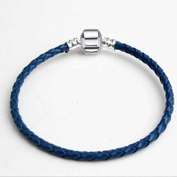 30pcs Brand New Mixed Size Silver Leather Snake Chain for Big Hole European Style Beads fit Murano Beads Pandora DIY Bracelets Bangles Blue