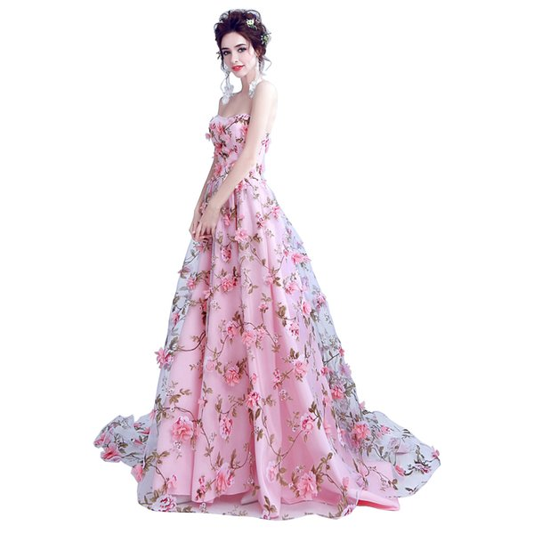 Walk Beside You Pink Flowers Prom Dresses 2017 Long Strapless Sweetheart vestido de formatura longo Evening Gown Party Halloween