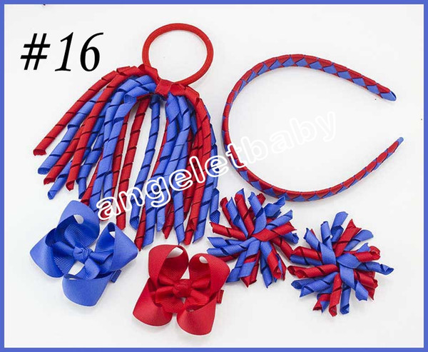 5 sets korker Ponytail streamers woven headbands hair ties bows clips flowers corker Curly ribbon hair bobbles Accessories PD026