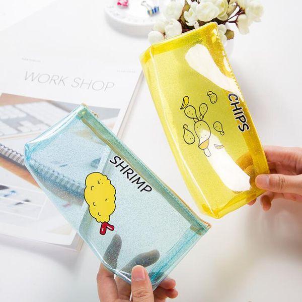 Cartoon Potato chips milk PVC transparent pencil case storage bag korean stationery school pencil cases for Children