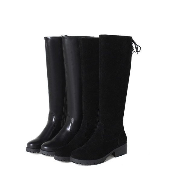 2018new women british style flat over knee boots riding winter warm long boot brand footwear shoes size34-43