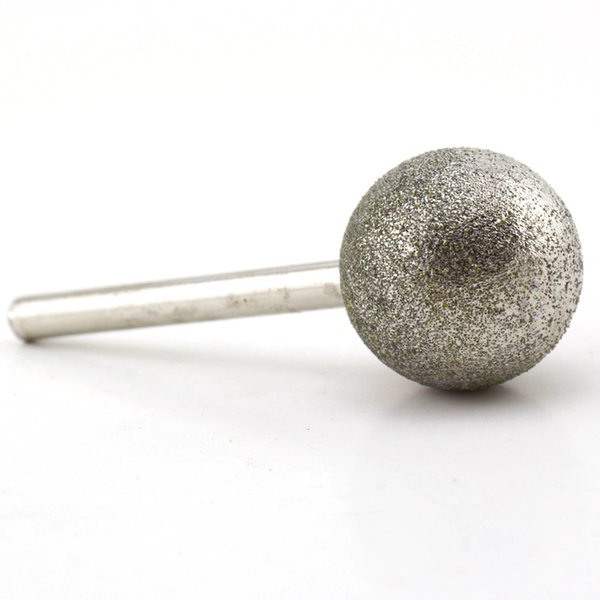 """Diamond Coated 30mm 1-3/16"""" Dia Spherical Head Mounted Points Round Ball Grinding Bit Cutting Burs Shank 6mm Grit 80 Coarse Gems"""