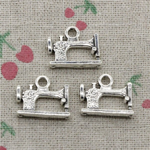 65pcs Charms vintage treadle sewing machine 20*15mm Tibetan Silver Vintage Pendants For Jewelry Making DIY Bracelet Necklace