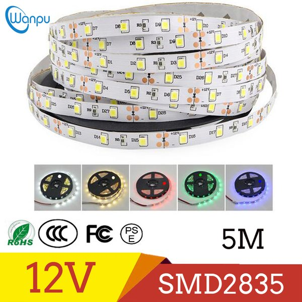 2835 SMD Più luminoso 5 M Pack di SMD LED Strip light DC 12V 60LEDs / M Nastro decorativo per interni Bianco Blu Rosso
