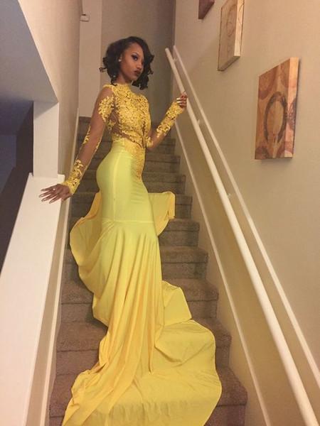 Amarelo Sereia Vestidos de Baile Mangas Compridas Alta Pescoço Vestidos de Noite com Apliques Sexy Longo Prom Vestidos 2017 Venda Quente