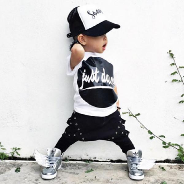Summer Harem Sets For Toddler Baby Boys Clothes Kids Letter T Shirts+Hip Hop Pants Trousers 2PCS Tracksuit Vetement Garcon SKW-242