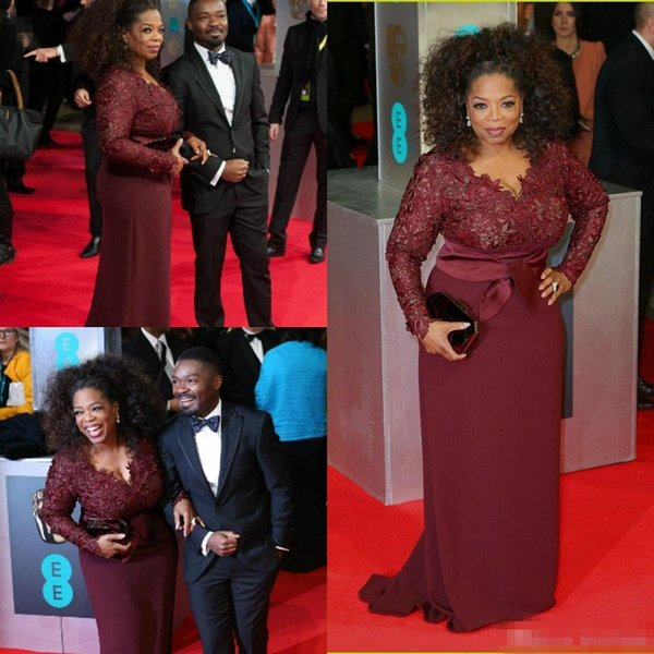 Oprah Winfrey Burgundy Long Sleeves Mother of the Bride Evening Dresses 2016 V-Neck Sheer Lace Sheath Plus Size Celebrity Red Carpet Gowns