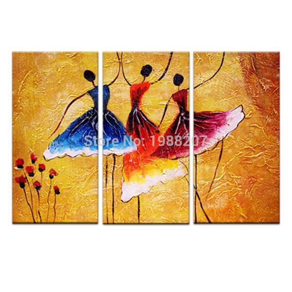 3 Panles Abstrato Pinturas de Dança Espanhola Impresso em Tela Abstrato Dancer Pintura Arte Da Parede Para Casa Decoração Moderna De Madeira Emoldurado