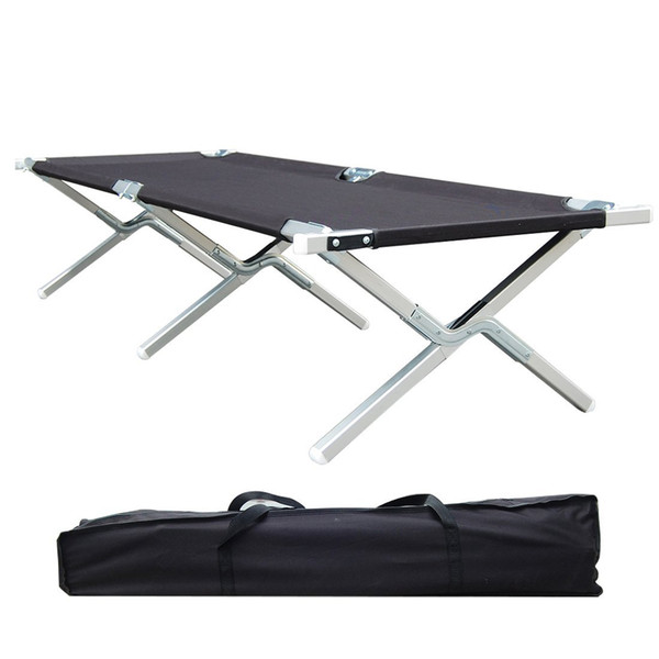 Portable Folding Camping Cot Military Grade Aluminum Frame Perfect for Base Camp, Camping and Hunting with Free Zippered Storage Bag