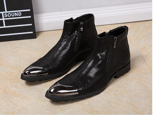 HOT!! high quality Foreign trade short boots pointed hairdresser boots fashion personality catwalk cowboy boots Martin