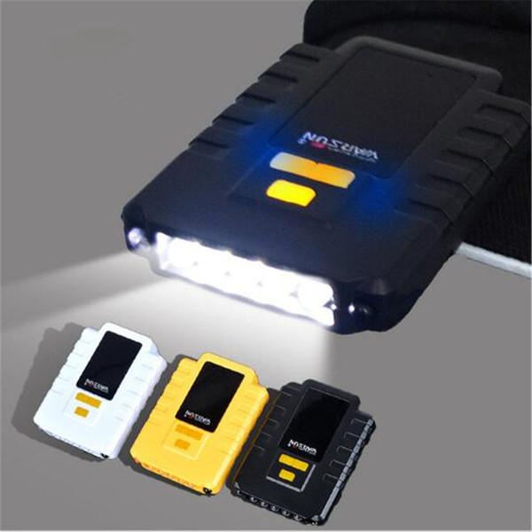 10pcs USB Rechargeable 5 LED Vibration Wave Induced Sensor LED Headlamp Cap Hat Headlight Lamp for Hiking Fishing Camping