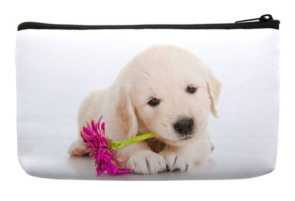 Wholesale- Golden Retriever Puppy Dog Pet with Flower Print Customized Small Cosmetic Bag Wristlet Makeup Bags