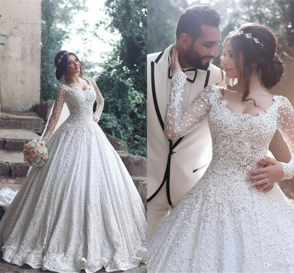 2017 new arabic wedding dre e coop neck long leeve full lace cry tal beaded long ball gown weep train plu ize formal bridal gown