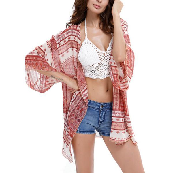 Mode d'été Boho Kimono Cardigan Femmes Sexy Imprimé Blouse Chemise En Mousseline De Soie Lâche Plage Couvrir jusqu'à Tunique Tops Col V Chemises Casual