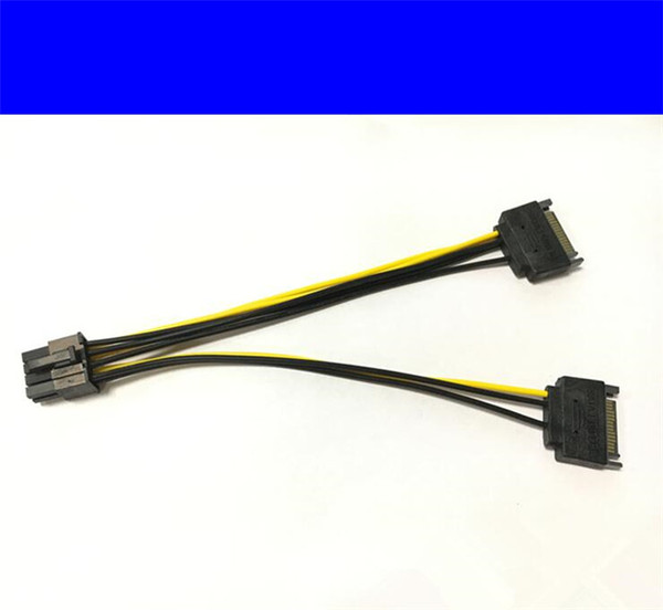 100pcs Free Shipping dual 15pin SATA male to 8pin(6+2) PCI-E Power Supply Cable 20cm SATA Cable 15-pin to 8 pin cable