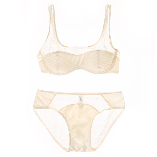 2017 sexy lingerie set half transparent underwear sets women cotton thin cup bra set french lace bras and panties intimates