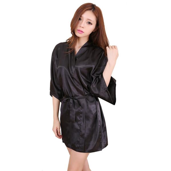 Wholesale- Women Sexy Large Size Faux Silk Satin Night Kimono Robe Short Bathrobe Perfect Wedding Bride Bridesmaid Robes Dressing Gown LM75