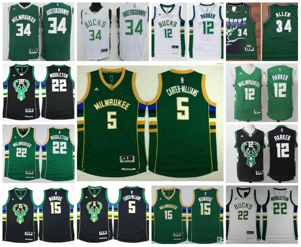 quality design 9409c 36ad4 2019 TOP Basketball Milwaukee,Jersey Men Youth Bucks,Ray Allen,34  Antetokounmpo,15 Monroe,12 Jabari Parker,22 Middleton,5 Williams,Throwback  Retr From ...