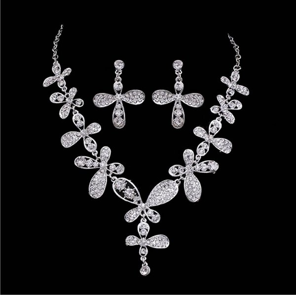 cheap silver necklace earring set bride wedding jewelry diamond cklace earrings set golden butterfly Diamond Flower Necklace Earrings alloy