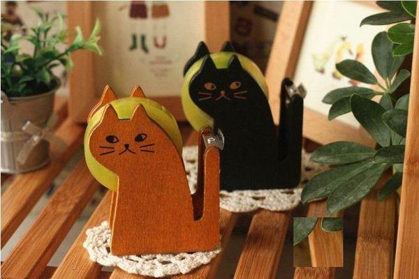 top popular 2017 New Fashion Funny Cute cat shape wooden tape Dispenser tape dispenser  tape cutter good quality 2021