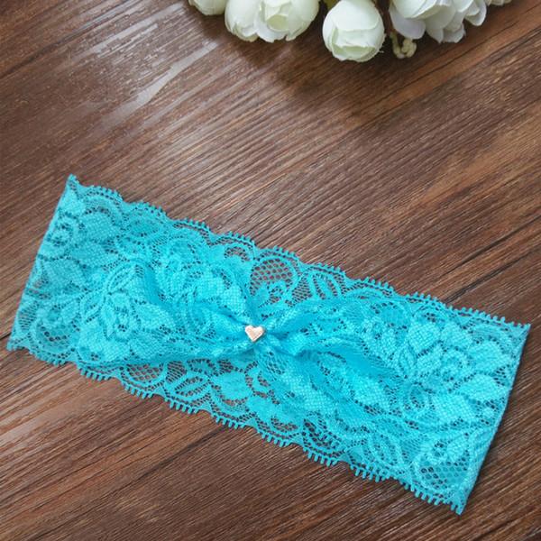 Wedding Vintage Blue Lace Garter Gold Tiny Heart Charm Garter Lace