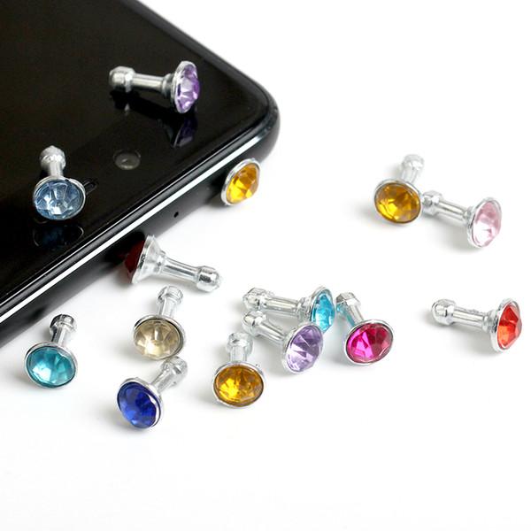 500 pçs / lote universal 3.5mm diamond dust plug cap bling brilhante fone de ouvido anti poeira plugue top quality plugue vem com saco de opp
