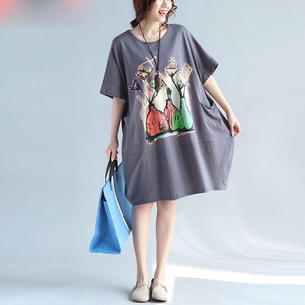 Women Plus Size T-Shirt Summer Cotton Pattern Print Female Fashion Casual Tops Large Size O-Neck New Dress Grey Pocket