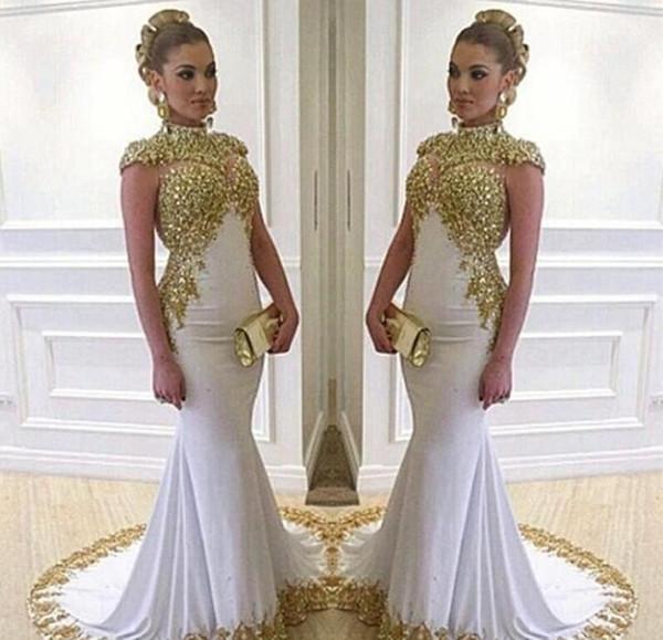 2017 New Sexy White Mermaid Lungo Unico Prom Dresses Appliques di Raso In Rilievo Collo Alto Cerniera-Su Treno Corte Abiti Da Noche Custom Made