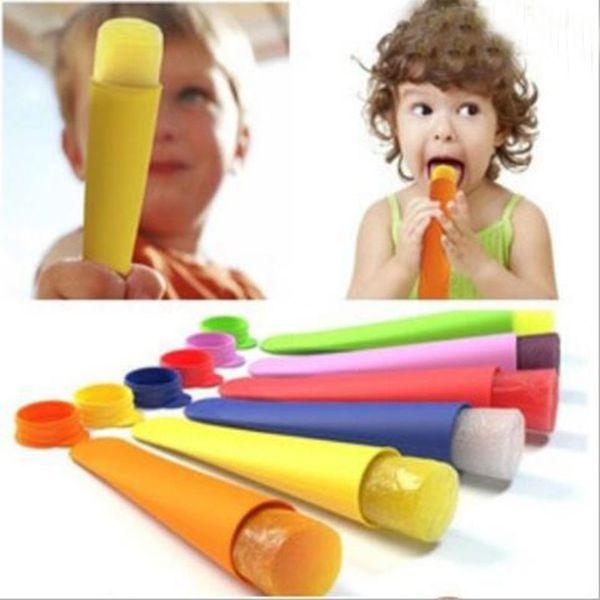 2017 Silikon-Eis-Pop-Form Popsicles Form mit Deckel-Eiscreme-Hersteller Push-up-Eis-Gelee Lolly Pop für Popsicle 15 * 3,5cm