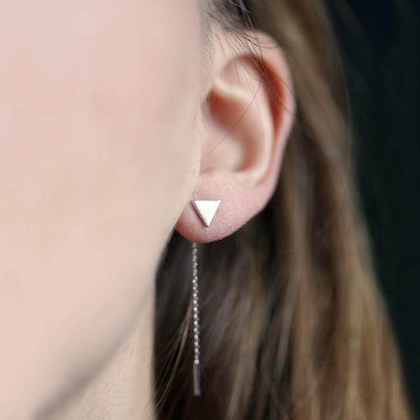 Nouveau Simple Longue Chaîne Gland Triangle Triangle Boucles D'oreilles pour les Femmes Mignon Oreille Goujons Oreille Bijoux Usine Vente Directe Livraison Gratuite B1187