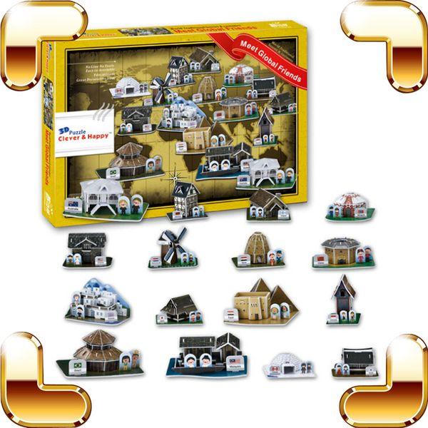 Nouvel An Cadeau Globale Maison 3D Puzzle Différent Pays Bâtiment Puzzle Modèle Maison DIY PUZ Construire Pour Le Papier Fun PCS Jouets Présent