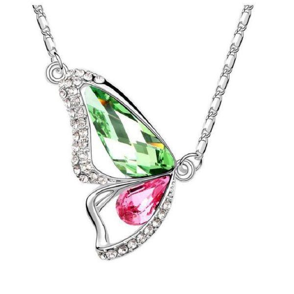 Collana di strass collana pendente a farfalla 6 colori all'ingrosso realizzato con cristalli da Swarovski per regalo delle donne spedizione gratuita