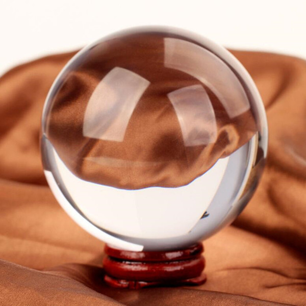 200mm/pc Crystal Ball+Wooden Base+Gift Box Crystal Glass Feng Shui Ball Home Decoration Sphere