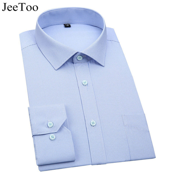 Wholesale- JEEToo Brand Mens Casual Shirts Long Sleeve Striped Shirt Men Slim Fit Business Formal Mens Dress Shirts Cotton Shirt Male 5XL