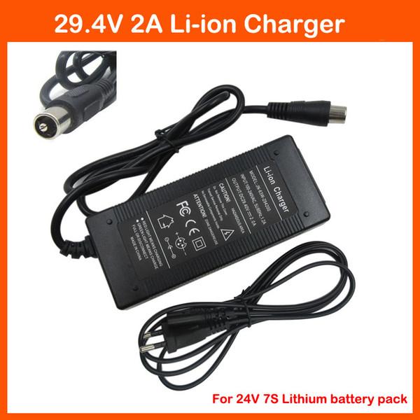 Caricabatteria agli ioni di litio 29,4 V 2A Porta RCA 24V 2A per 24V 7S Caricabatteria per bici elettrica agli ioni di litio Li-ion ebike
