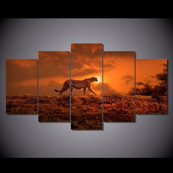 5 Pcs/Set Framed HD Printed Sunset Sky Animal Leopard Picture Wall Art Canvas Print Room Decor Poster Canvas Modern Oil Painting
