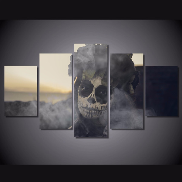 5 Pcs/Set Framed HD Printed Day of the Dead Face Wall Art Picture Canvas Print Decor Poster Modern Canvas Oil Painting