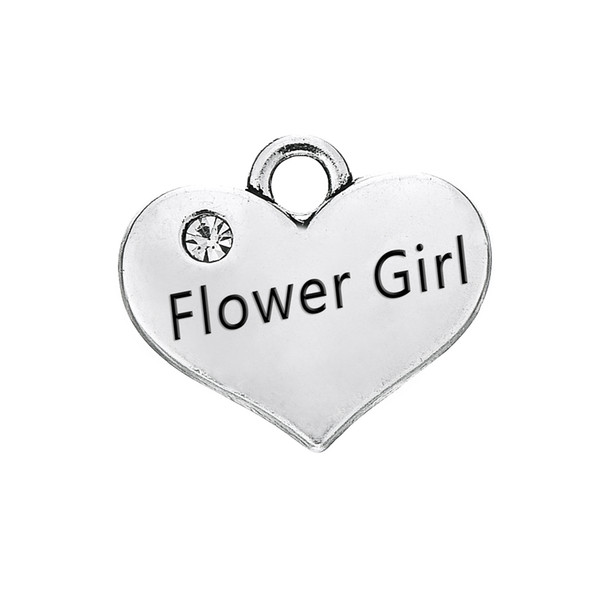 Engraved Words Flower Girl with Clear Crystal Heart Pendant With Antique Silver Plated Fashion Charm DIY Necklaces&Bracelets