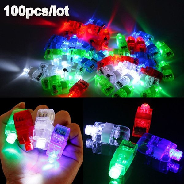 100 Pz / lotto LED Finger Lights Glowing Dazzle Colour Laser Emitting Lamps Christmas Wedding Celebration Festival Decorazioni per feste