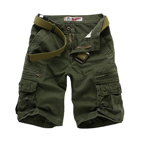 Wholesale-Top Quality Summer Mens Leisure Fashion Short Trousers Man's Cargo Shorts Black Gray Khaki Army Green 28 30 32 34 36 38