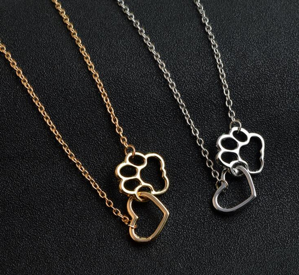 Women Fashion Pet Lover Dog Cat Paw Print Pendant Love Heart Gold/Silver Choker Collar Simple Statement Necklace