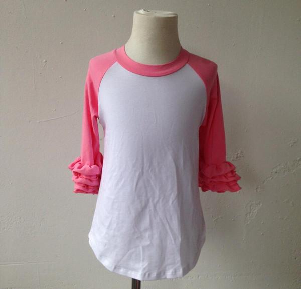 мода детские дети девушки повседневная девушки розовый реглан с длинным рукавом блузка Оптовая дети обледенение рябить рубашка