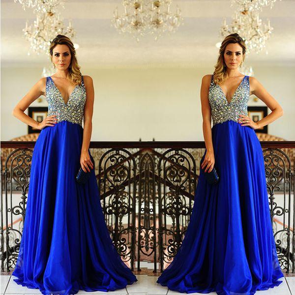 c2cbc6c4f81 Graduation Dresses Long Royal Blue Prom Dress Chiffon Elegant Deep V Neck  Floor Length A Line