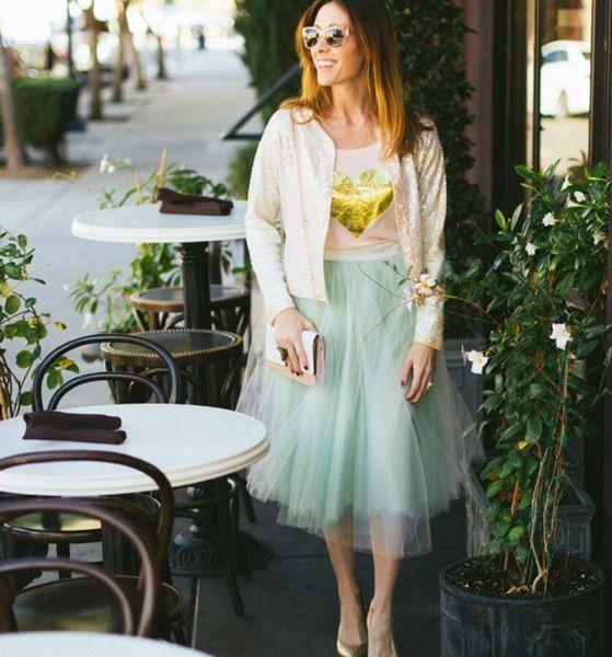 Autumn Lady Clothing Ankle Length Mint Green Tulle Skirts For Women fashion Style Elegant Tutu Skirt Custom Made