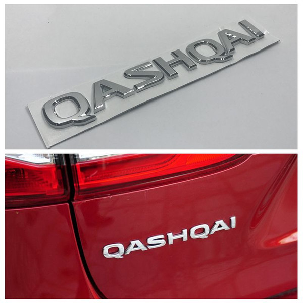 10pcs/lot Auto 3D Letter Emblem Badge Tail Sticker For Nissan Qashqai Chrome Silver Rear Nameplate Decals