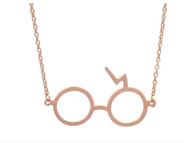 Frete Grátis série de Filmes Europa e nos Estados Unidos hot Potter Óculos colar Geek cicatriz Relâmpago Colar # 3110