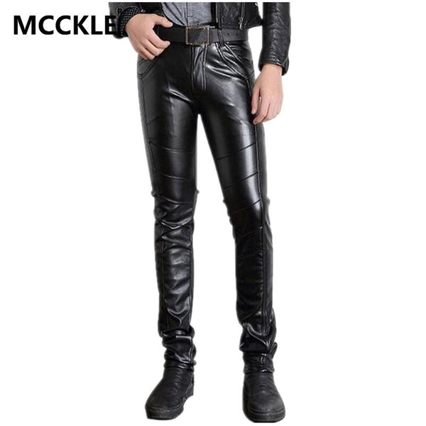 Wholesale-Super Skinny Mens Faux Leather Pants PU Material Black Slim Fit Motorcycle Leather Trousers For Male P015