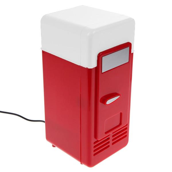 Voiture Mini USB Réfrigérateur Boîtes De Boissons Boissons Refroidisseur Réchauffeur Réfrigérateur Avec La Lumière LED interne USB Frigo Nevera pour Automobiles